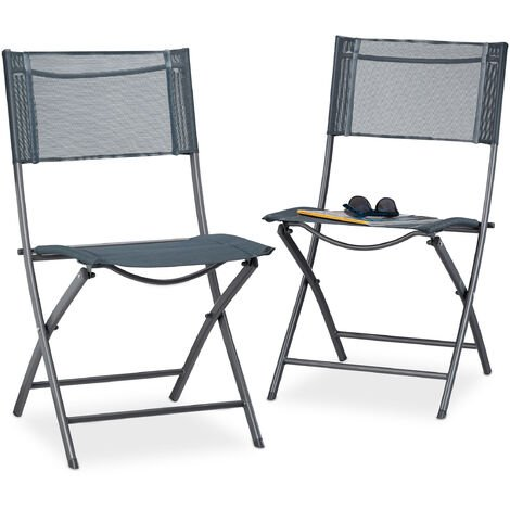 Relaxdays Set of 2 Folding Balcony Chairs, Metal, Plastic, Garden Chairs, HxWxD: 87 x 55 x 48 cm, Foldable, Grey