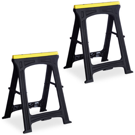 Relaxdays Set of 2 Folding Trestle Legs, Capacity 170 kg, Solid Sawhorse, Working Height 79 cm, Compact, Plastic, Black
