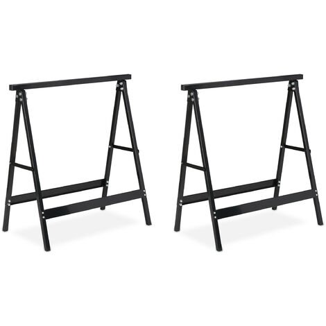 Relaxdays Set of 2 Folding Trestle Legs, Capacity up to 100 kg, Solid Sawhorse, Working Height 75 cm, Compact, Steel, Black