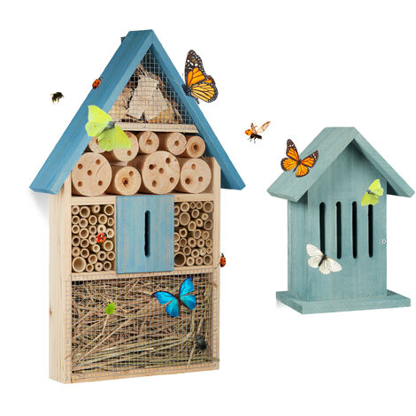 Relaxdays Set of 2 Insect Hotels, Bee and Butterfly Home, Flamed Wood, Blue
