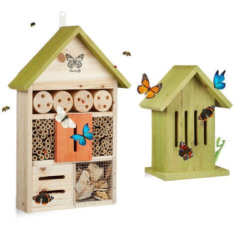 Relaxdays Set of 2 Insect Hotels, Bee and Butterfly Home, Flamed Wood, Light Green