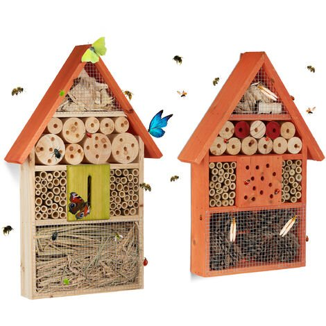 Relaxdays Set of 2 Insect Hotels, Bee and Butterfly Home, Flamed Wood, Orange