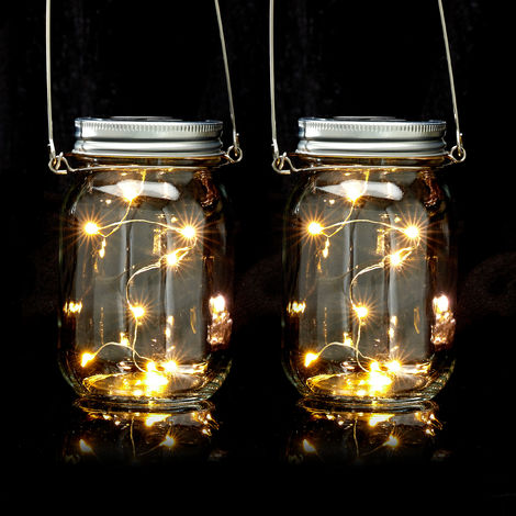 Relaxdays Set of 2 LED Solar Mason Jars, 8 LED Lights Per Glass Jar, Set Or Hang, Solar-powered Garden Lighting; Transparent