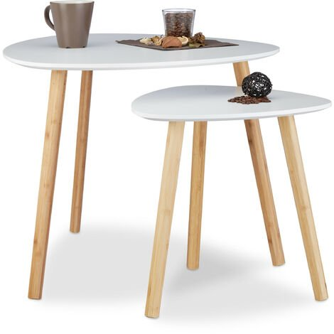 Relaxdays Set of 2 Nesting Tables, Compact End Tables in Nordic Design, Flower Stands and Newspaper Coffee Tables, White
