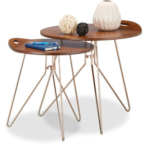 Relaxdays Set of 2 Wooden Side Tables, Metal Frame, Retro Design (Walnut), Wood Coffee Tables, Modern, Brown