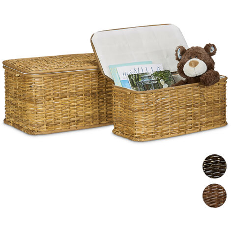 Relaxdays Set of 2 Woven Storage Chests Rectangular Rattan Baskets 50 x 29.5 x 26 cm Stackable Decorative Woven Chests w/ Removable Washable Inner Lining for 28L Breathable Rattan Chest, Honey-Brown