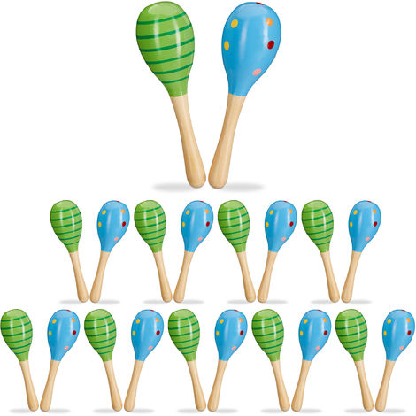 Relaxdays Set of 20 Wooden Maracas, Shakers, Baby Rattles, Small Musical Toys, Green & Blue