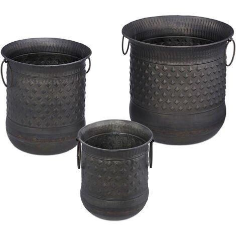 Relaxdays Set of 3 Antique Plant Pots, Decorative Planter With Handles,Flower Pot Vintage, Outdoors, Iron, Anthracite