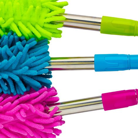 Relaxdays Set of 3 Dusters with Telescope Grip, Removable, Microfibre, For Car and Household Cleaning, 60-95 cm cm Long, Blue/Green/Pink