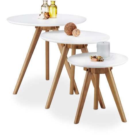 Relaxdays Set of 3 End Tables, Lacquered Oak Wood, White Table Top of 50, 40 and 32 cm, Nordic Design, White / Natural Brown