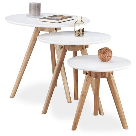 Relaxdays Set of 3 End Tables made of Walnut Wood, White Table Top of 50, 40 and 32 cm, in Nordic Design, White / Natural Brown