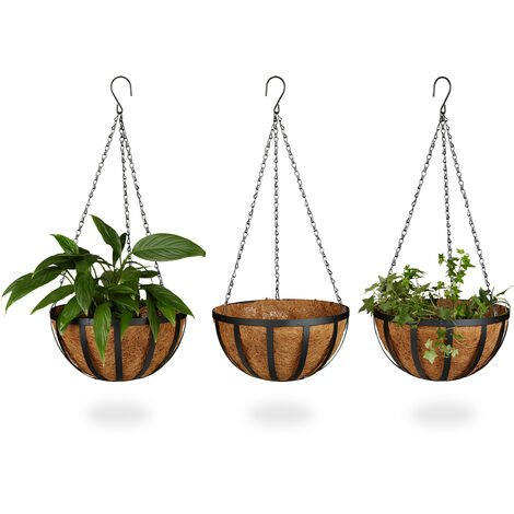 Relaxdays Set of 3 Hanging Flower Baskets, Coconut, 21 Litre Volume, with Chain, 30 cm Diameter, as Hanging Planters, Brown