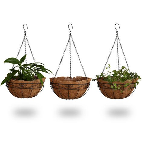 Relaxdays Set of 3 Hanging Flower Baskets, Coconut, 33 Litre Volume, with Chain, 35 cm Diameter, as Hanging Planters, Brown