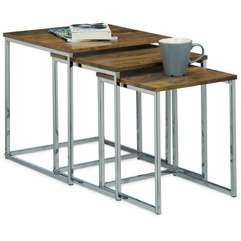 Relaxdays Set of 3 Nesting Tables, Size: 42 x 40 x 40 cm Coffee Tables, Wood and Metal, Brown