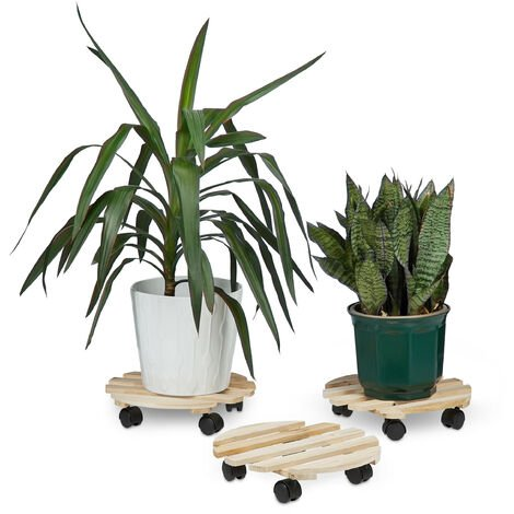 Relaxdays Set of 3 Plant Caddies, Round, Wooden, up to 30 kg, For all Floor Types, HxWxD: 7.5 x 33 x 33 cm, Natural