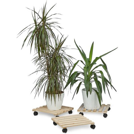Relaxdays Set of 3 Plant Caddies, Square, Wooden, up to 30 kg, For all Floor Types, HxWxD: 7.5 x 35 x 35 cm, Natural