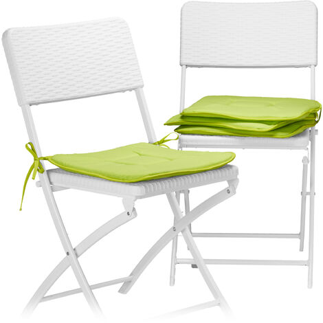 Relaxdays Set of 4 Seat Cushions, 38x38 cm, with Bow, For Chairs in the Home or Garden, Bright Colors, Washable, Polyester, Green