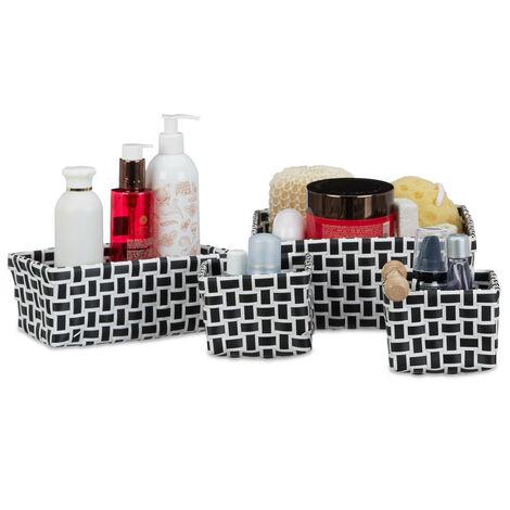 Relaxdays Set of 4 Storage baskets, Woven, Robust, Storage Bin for Bath, Plastic, Shelf Unit, White-Black
