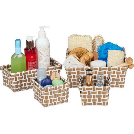 Relaxdays Set of 4 Storage baskets, Woven, Robust, Storage Bin for Bath, Plastic, Shelf Unit, White-Brown