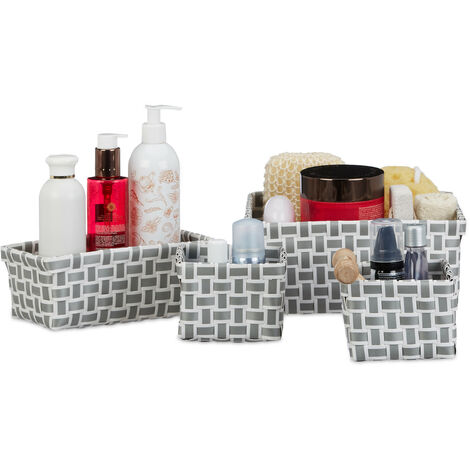 Relaxdays Set of 4 Storage baskets, Woven, Robust, Storage Bin for Bath, Plastic, Shelf Unit, White-Grey
