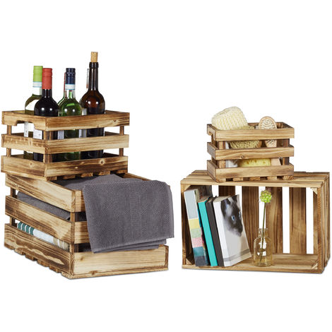 Relaxdays Set of 4 Wooden Boxes, Flamed, Shabby Chic, Used Look, 4 Different Sizes, Wine Crates, Fruit Boxes, Natural Brown