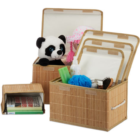 Relaxdays Set of 5 Bamboo Storage Baskets with Lid + Seal, Storage Box, Decorative Storage Option, Natural