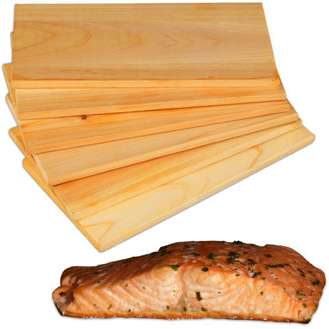 Relaxdays Set of 6 Cedar Wood Grilling and Barbecuing Planks, Smoky Flavour, Natural and Untreated for Fish and Meat, BBQ, 28 x 14 cm