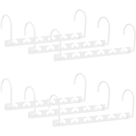 Relaxdays Set of 6 Metal Space-Saving Hangers, Hooks, Closet Organisers for 6 Hangers, 26 cm, White
