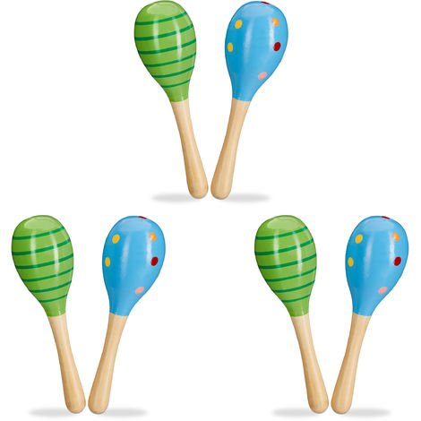 Relaxdays Set of 6 Wooden Maracas, Shakers, Baby Rattles, Small Musical Toys, Green & Blue