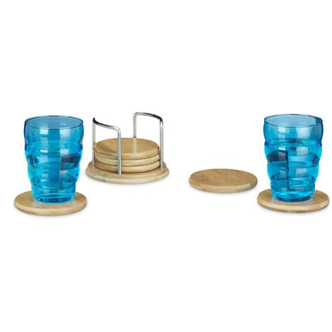 Relaxdays Set of 7 Round Coasters, Glass Holders with Stand, Wooden Coasters for Drinks, Beer Tops made of Bamboo with ca 9.5 cm Diameter, Natural Brown