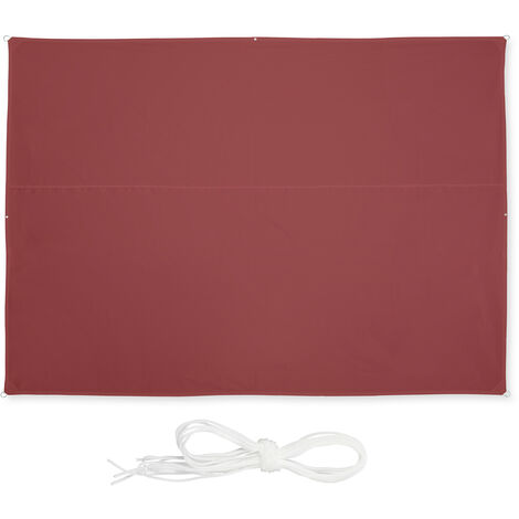 Relaxdays shade sail, rectangular, waterproof, UV protection, outdoor, awing, canopy, garden, 3.5 x 2.5 m, in maroon