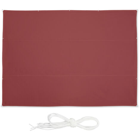 Relaxdays shade sail, rectangular, waterproof, UV protection, outdoor, awing, canopy, garden, 5.5 x 4.5 m, in maroon