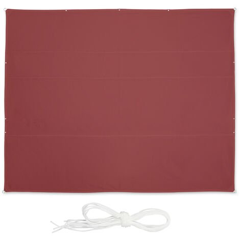Relaxdays shade sail, rectangular, waterproof, UV protection, outdoor, awing, canopy, patio, garden, 6 x 5 m, in maroon