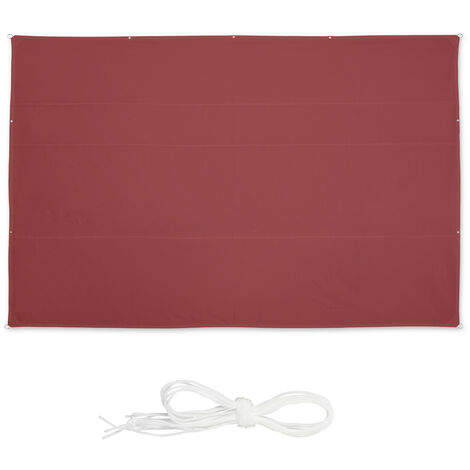 Relaxdays shade sail, rectangular, waterproof, UV protection, outdoor, awing, canopy, patio, garden, 7 x 5 m, in maroon