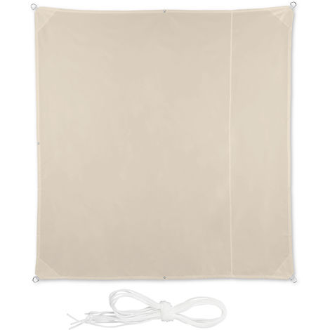 Relaxdays Shade Sail, Square, Water-Repellent, UV-Protection with Tethers, Balcony Canopy, WxD 2 x 2 m, Beige