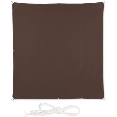 Relaxdays Shade Sail, Square, Water-Repellent, UV-Protection with Tethers, Balcony Canopy, WxD 2 x 2 m, Brown