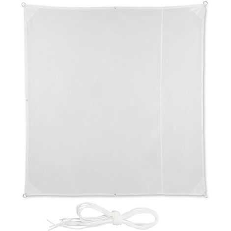 Relaxdays Shade Sail, Square, Water-Repellent, UV-Protection with Tethers, Balcony Canopy, WxD: 2 x 2m, White