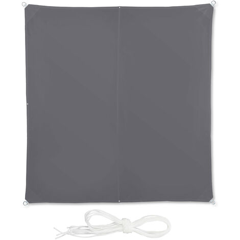 Relaxdays Shade Sail, Square, Water-Repellent, UV-Protection with Tethers, Balcony Canopy, WxD: 3 x 3 m, Grey