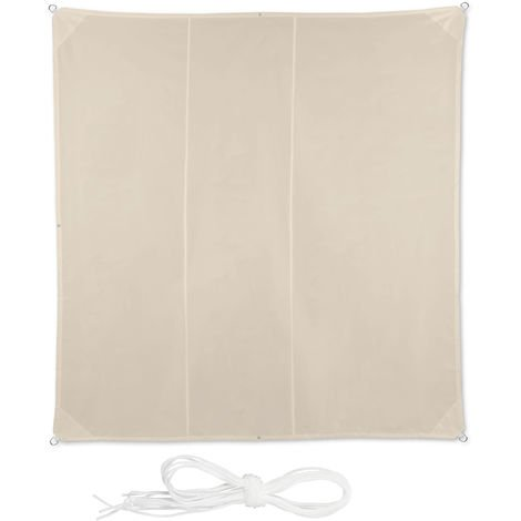 Relaxdays Shade Sail, Square, Water-Repellent, UV-Protection with Tethers, Balcony Canopy, WxD 4 x 4 m, Beige