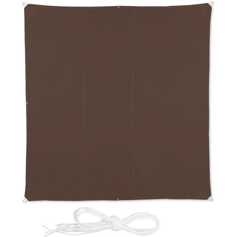 Relaxdays Shade Sail, Square, Water-Repellent, UV-Protection with Tethers, Balcony Canopy, WxD 4 x 4 m, Brown