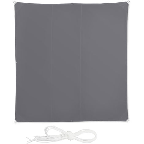 Relaxdays Shade Sail, Square, Water-Repellent, UV-Protection with Tethers, Balcony Canopy, WxD: 4 x 4 m, Grey