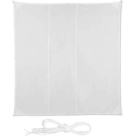 Relaxdays Shade Sail, Square, Water-Repellent, UV-Protection with Tethers, Balcony Canopy, WxD: 4 x 4m, White
