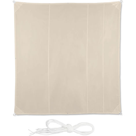 Relaxdays Shade Sail, Square, Water-Repellent, UV-Protection with Tethers, Balcony Canopy, WxD 5 x 5 m, Beige