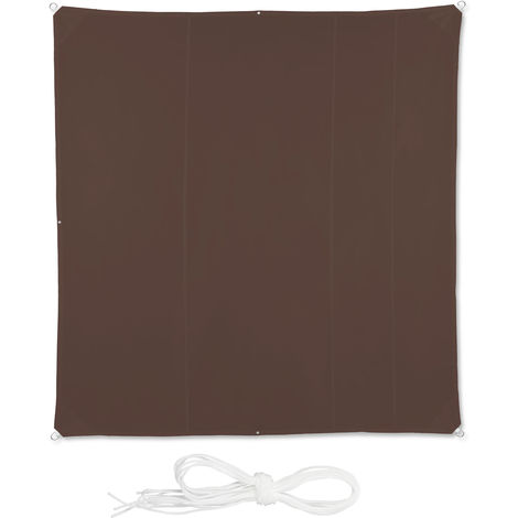 Relaxdays Shade Sail, Square, Water-Repellent, UV-Protection with Tethers, Balcony Canopy, WxD 5 x 5 m, Brown