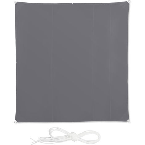 Relaxdays Shade Sail, Square, Water-Repellent, UV-Protection with Tethers, Balcony Canopy, WxD: 5 x 5 m, Grey