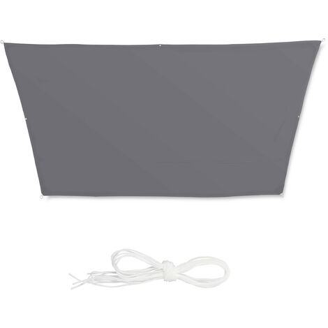 Relaxdays Shade Sail, Trapeze, Water-Repellent, UV-Protection with Tethers, Balcony Awning, 3x4x2x2m, Grey