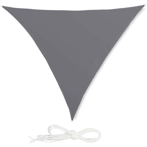 Relaxdays Shade Sail, Triangle, Water-Repellent, UV-Protection with Tethers, Balcony Canopy, 3x3x3m, Grey