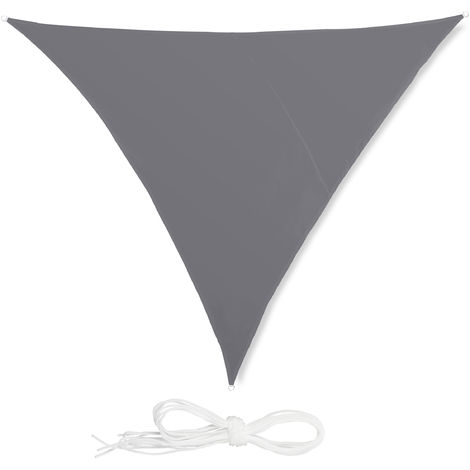 Relaxdays Shade Sail, Triangle, Water-Repellent, UV-Protection with Tethers, Balcony Canopy, 4x4x4m, Grey