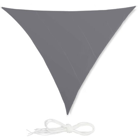 Relaxdays Shade Sail, Triangle, Water-Repellent, UV-Protection with Tethers, Balcony Canopy, 5x5x5m, Grey