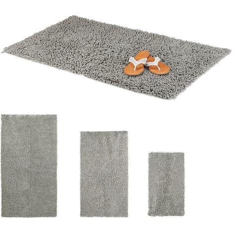 Relaxdays Shaggy Bathmat, Hand-Made Cotton Bathroom Mat, Non-Slip Bath Mat, 60 x 100 cm, Grey